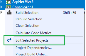 Edit Multiple Projects Screenshot